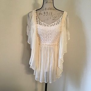 Tops - Sheer Peasant Top with Ribbed Tank Attached
